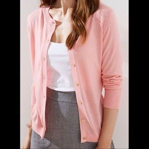 NWT ANN TAYLOR PINK COTTON BLEND CARDIGAN SMALL